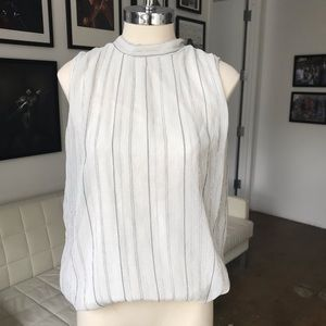 Riess Gray and Blue striped sleeveless blouse